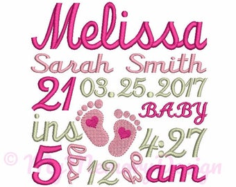 Baby Girl Birth TEMPLATE Embroidery Announcement - Newborn  Subway Art - Baby feet embroidery - INSTANT DOWNLOAD - 4x4 5x7 6x10 size