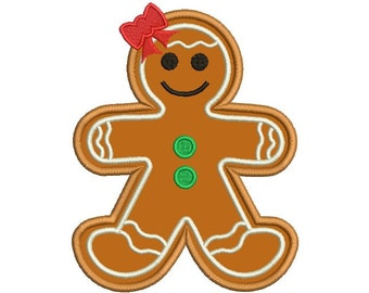 Girl Christmas Embroidery Design - Gingerbread Applique design - Christmas Applique - Santa design - Machine embroidery - 4x4 5x7 6x10 size