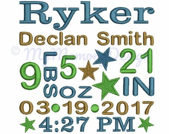 Personalized Custom Baby Birth Announcement Embroidery - Customised Boy Birth Announcement - Machine embroidery design - 3 size