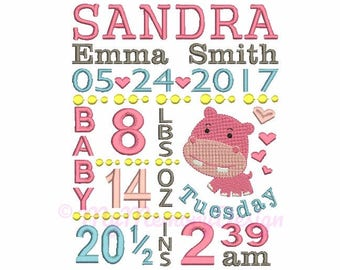 Subway art embroidery - Birth Annuncement Embrobroidery - Baby Embroidery - CUSTOM Embroidery - Machine embroidery pattern 4x4 5x7 6x10 size