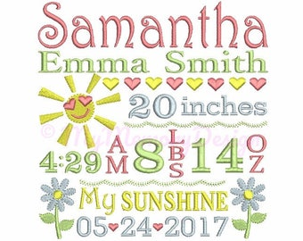 Subway Art Embroidery Design - Birth Announcement Embroidery Pattern - Baby embroidery - Machine embroidery Instant Download  4x4 5x7 6x10