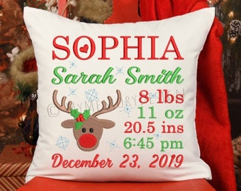 Christmas embroidery design, Birth announcement embroidery, Birth template machine embroidery, Baby embroidery, Reindeer , INSTANT DOWNLOAD