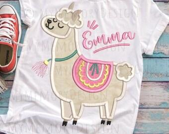 Llama machine embroidery design, Alpaca embroidery, Llama applique design, Machine embroidery design, Girl embroidery, 4x4 5x7 6x10 sizes