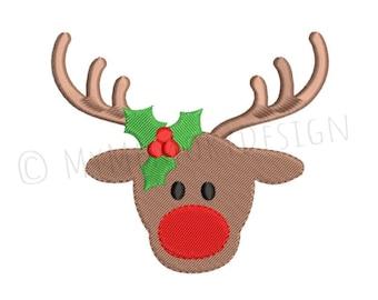 Reindeer embroidery design , Girls Christmas embroidery, Embroidery design, Winter embroidery, Santa embroidery, Holiday embroidery, 4 SIZES