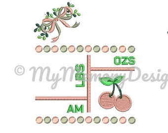 Template baby birth Announcement , Subway art template design , 5x7  Embroidery Design ,  baby , girl , cherry embroidery