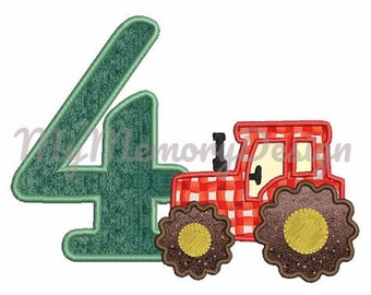 Birthday Embroidery Design - Birthday  applique - Tractor embroidery - Machine embroidery pattern - INSTANT DOWNLOAD- 4x4 5x7 6x10