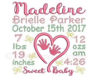 Birth Custom Announcement Embroidery Design - Baby Stats Machine Embroidery File - EMAIL DELIVERY 0-48 hour NOT instant download