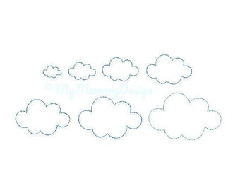 7 SIZES Cloud Embroidery Design -  Embroidery Pattern - Machine embroidery digital dowload file - INSTANT DOWNLOAD