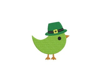 St. Patricks Lucky Bird Filled Stitch Embroidery Design - Mini embroidery  - Machine embroidery design - INSTANT DOWNLOAD - 5 size