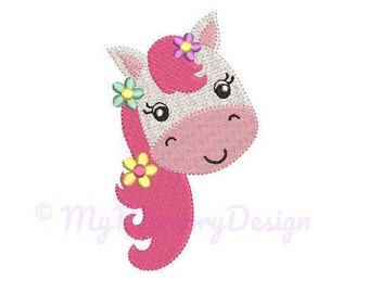 Pony Embroidery Design - Mini Embroidery Pattern - Machine embroidery digital dowload file - INSTANT DOWNLOAD 6 SIZES