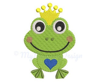 Frog Embroidery Design - Machine embroidery, Prince embroidery, Baby embroidery, Little prince embroidery design - INSTANT DOWNLOAD, 6 SIZES