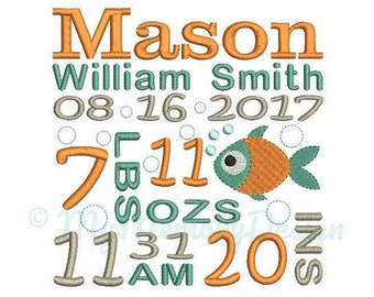 Fish Birth announcement embroidery design - Birth template machine embroidery baby design - INSTANT DOWNLOAD 4x4 5x7 6x10 sizes