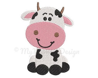 Cow Embroidery Design - Boy Embroidery Pattern - Machine embroidery digital dowload file - INSTANT DOWNLOAD 6 SIZES