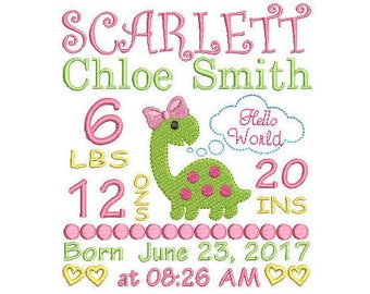 Birth Announcement Embroidery Design, Machine Embroidery, Baby announcement, Dinosaur embroidery, Personalized embroidery, EMAIL DELIVERY