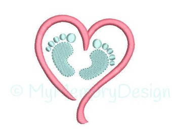 Baby feet Embroidery Design - Newborn Embroidery Pattern - Machine embroidery digital dowload file - INSTANT DOWNLOAD - 4 sizes