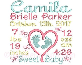 Baby Announcement Embroidery Design - Custom Birth Stats Machine Embroidery File - EMAIL DELIVERY 0-48 hour NOT instant download