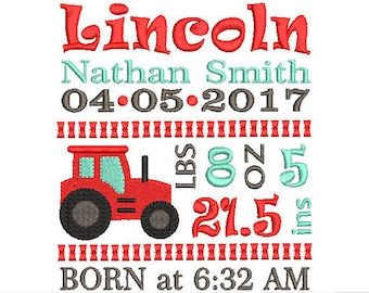 Tractor New Baby Birth Announcement TEMPLATE Embroidery Design - Baby Boy Embroidery - Machine embroidery Instant Dowload File 4x4 5x7 6x10