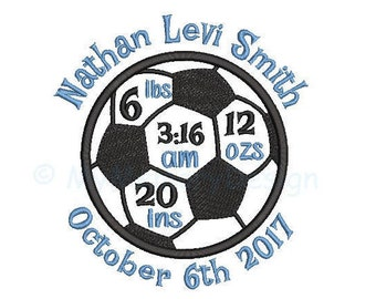 Soccer ball  Birth announcement embroidery design - Birth template machine embroidery baby design - INSTANT DOWNLOAD 4x4 5x7 6x10 sizes