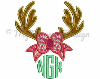Antler embroidery design - Antler  Applique  Design - Deer Applique design - Deer Split Applique Design - Monogram - Machine Embroidery
