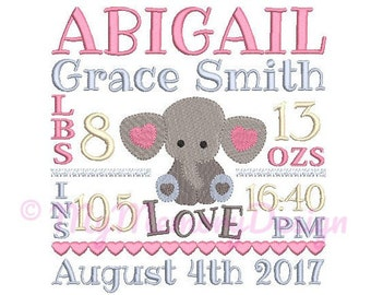 Elephant Birth Announcement Embroidery Design - Baby Subway Art Machine Embroidery File - EMAIL DELIVERY 0-48 hour - NOT instant download