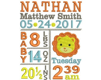 Birth announcement embroidery, Baby embroidery, Baby boy, Little brother embroidery, Lion embroidery, Machine embroidery file, 4x4 5x7 6x10