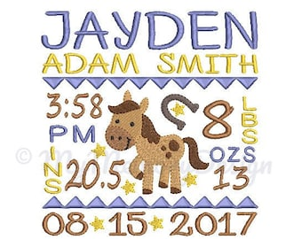 Birth announcement embroidery design - Birth template - Horse design - Birthday embroidery - Baby embroidery - INSTANT DOWNLOAD 4x4 5x7 6x10