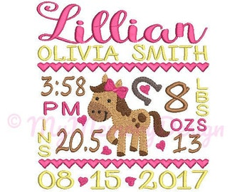 Girl Horse Birth Announcement Embroidery Design - Baby Subway Art Machine Embroidery File - EMAIL DELIVERY 0-48 hour - NOT instant downlaod