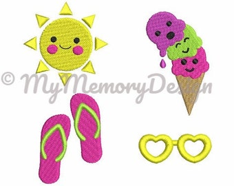 Cute Summer Mini Fill Stitch Embroidery Design Set - Baby embroidery - Beach embroidery design - Small embroidery for 4x4 - INSTANT DOWNLOAD