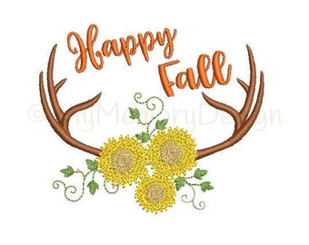 Happy Fall embroidery design - Fall embroidery - Antler embroidery, Autumn embroidery, Halloween embroidery, Machine embroidery design