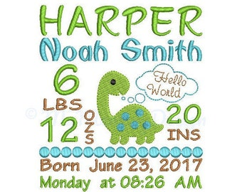 Dinosaur Birth announcement embroidery design - Birth template machine embroidery Baby design - INSTANT DOWNLOAD 4x4 5x7 6x10 sizes