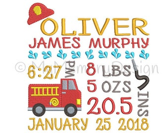 Baby embroidery design, Birth announcement embroidery,  machine embroidery, Fireman embroidery , Baby boy embroidery - Fire truck embroidery