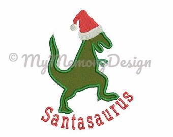 Christmas Dinosaur Embroidery Design - Christmas Boy Applique Design - Dino Applique - Machine embroidery design - INSTANT DOWNLOAD - 3 SIZE