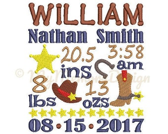 Cowboy Birth Announcement Embroidery Design - Baby Boy Subway Art Machine Embroidery File - EMAIL DELIVERY 0-48 hour - NOT instant downlaod