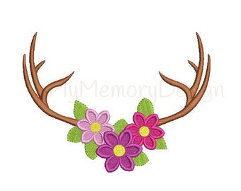 Deer embroidery, Antler embroidery design- Summer embroidery, Floral design- Flower embroidery, Antler embroidery- Machine embroidery design