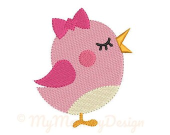 Girl Bird Embroidery Design - Girl Embroidery Pattern - Machine embroidery digital dowload file - INSTANT DOWNLOAD 5 SIZES