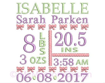 Birth announcement embroidery design - Baby girl embroidery, Birthday embroidery, Birth template embroidery- INSTANT DOWNLOAD 4x4 5x7 6x10