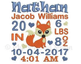 Boy Birth announcement embroidery design - Birth template machine embroidery Baby girl design - INSTANT DOWNLOAD 4x4 5x7 6x10 sizes