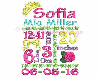 Princess Baby Birth Template Announcement Machine Embroidery Design - Newborn baby embroidery - Digital Download - 4X4 5X7 6X10 size -