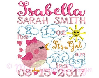 Bird Personalized Birth Announcement Machine Embroidery Digital File Design - EMAIL DELIVERY 0-48 hour - NOT instant downlaod
