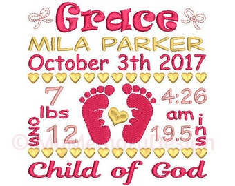 Birth announcement TEMPLATE embroidery design - Birth stats machine embroidery Baby girl design - INSTANT DOWNLOAD 4x4 5x7 6x10 sizes