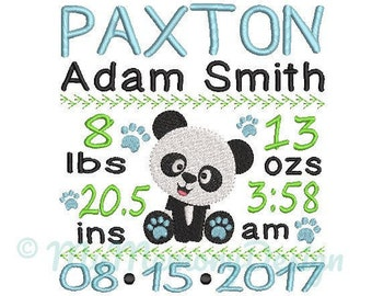 Panda Birth Announcement Embroidery Design - Baby Subway Art Machine Embroidery File - EMAIL DELIVERY 0-48 hour - NOT instant downlaod