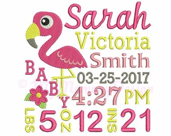 Flamingo embroidery, Baby embroidery, Birth announcement embroidery, Birth template , Machine embroidery design, INSTANT DOWNLOAD, 3 sizes