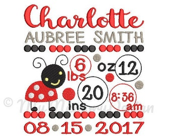 Custom Embroidery Birth Announcement Ladybug Machine Embroidery Digital File Design - EMAIL DELIVERY 0-48 hour - NOT instant downlaod
