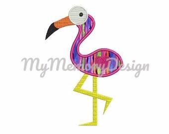 Flamingo applique design - Flamingo embroidery - Bird embroidery - Animal applique- Machine embroidery design - INSTANT DOWNLOAD