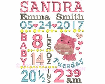 Birth template embroidery - Subway Art Design - Birth Announcement Machine embroidery instant download file  - 4x4 5x7 6x10 size