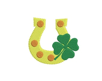 St. Patrick's Horseshoe Mini Filled Embroidery Design - Clover embroidery - St. Patricks day design - Machine embroidery file - 5 size