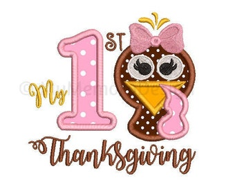 My 1st thanksgiving applique design - Thanksgiving embroidery design - Baby design - Machine embroidery pattern - INSTANT DOWNLOAD - 3 sizes