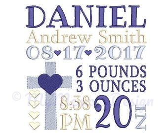 Cross Custom Embroidery Birth Announcement Machine Embroidery Digital File Design - EMAIL DELIVERY 0-48 hour - NOT instant downlaod