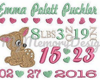 Baby Birth Template Announcement Embroidery Design instant download pes file boy baby girl baby roe deer  bambi