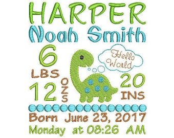 Baby Birth Announcement Embroidery Design - Baby Subway Art Machine Embroidery Digital File - Embroidery pattern - Newborn design